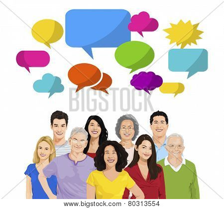 Multi-Ethnic Group of People and Speech Bubbles Vector
