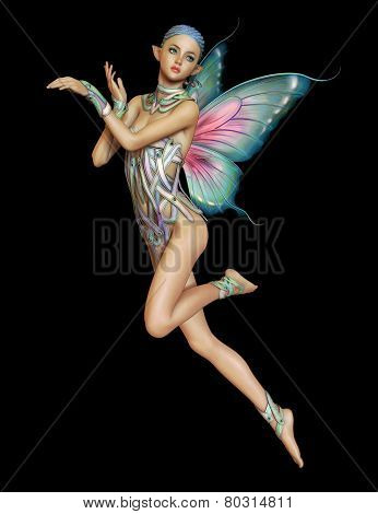 3d computer graphics of a hovering fairy with braided blue hair and butterfly wings poster
