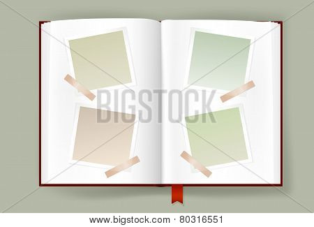 Opened Album With Blank Photo Frames