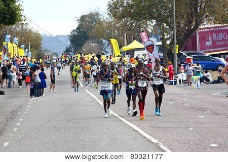 Spectators Cheering Participants Competing In 2014 Comrades Marathon