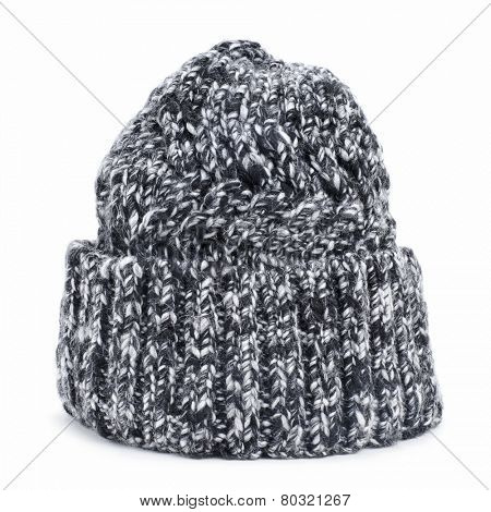 a mottled knit cap on a white background
