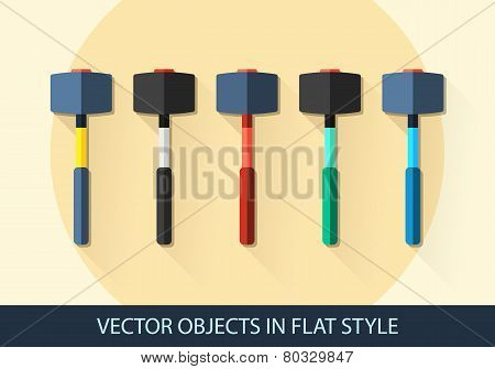 Set Of Vector Sledgehammer In A Flat Style With Shadow.