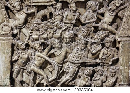 KOLKATA, INDIA - FEBRUARY 15:  Life scenes of Buddha, from 2th century found in Amaravati, Andhra Pradesh now exposed in the Indian Museum in Kolkata, on February 15, 2012