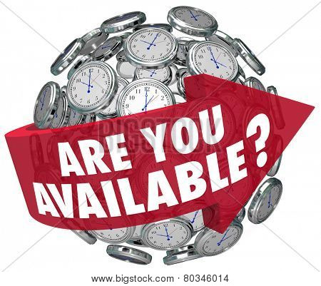 Are You Available question or meeting request on a red arrow around a sphere of clocks asking if you have time for a discussion
