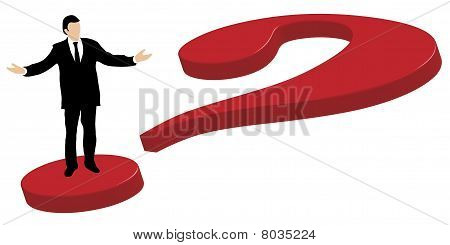 Business man standing on question mark