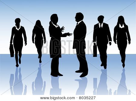 Group of business people interacting