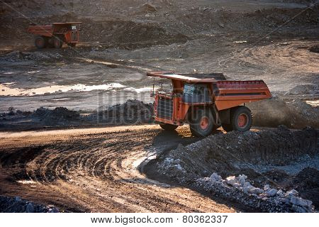 Coal-preparation Plant. Big Mining Truck At Work Site Coal Transportation