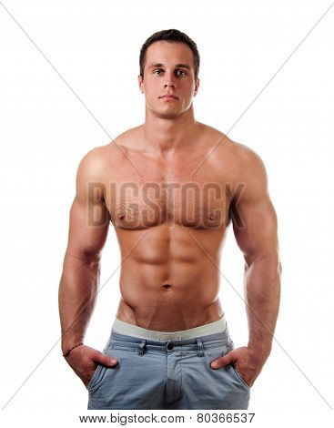 bodybuilder posing. Handsome power athletic guy male. Fitness muscular body.  Isolated on white background poster