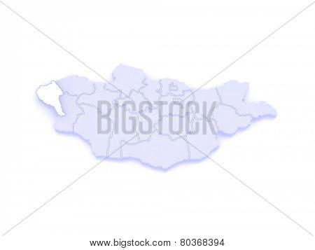 Map of Bayan Ulgiy. Mongolia. 3d