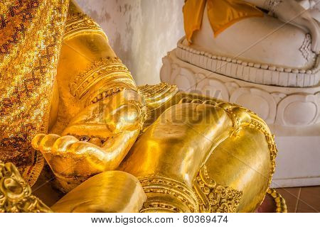 Closeup Of The Hand Of Buddha's Image .