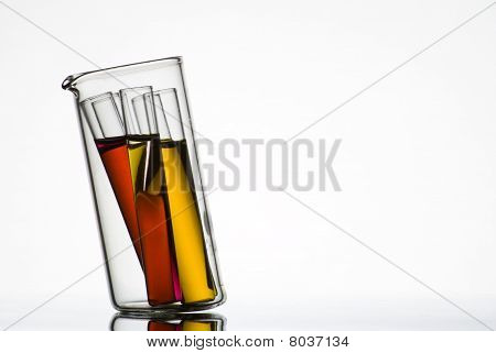 Test tubes in small glass container