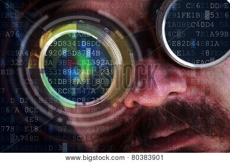 Peeking Over Data Flows - Hacking Concept With Futuristic Man