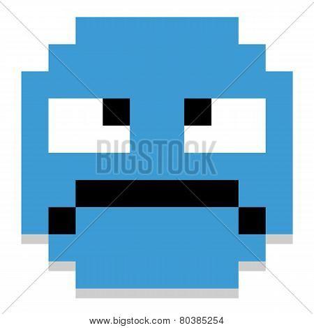 Vector Cute Cartoon Pixel Grumpy Face
