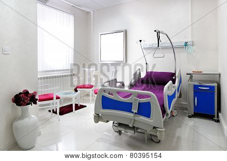 Interior of empty hospital room