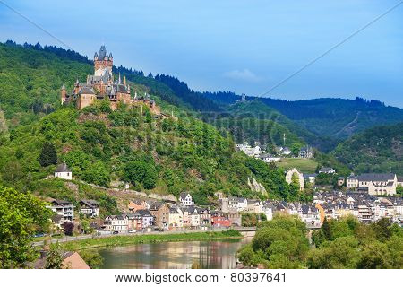 Panorama of Cochem with the Cochem Imperial castle on the mountain and Mosel  river bellow poster