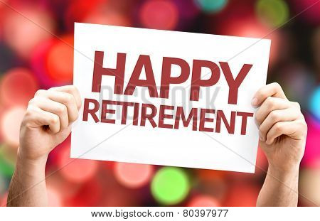 Happy Retirement card with colorful background with defocused lights