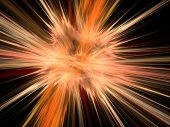 Graphics abstract texture. Computer rendered background. 3D fractal. Massive explosion blast. poster