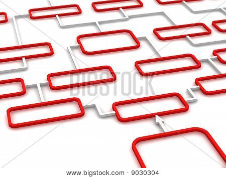 Red and white schematic diagram