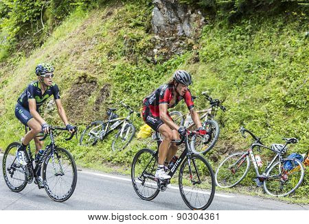 Two Cyclists On Col Du Tourmalet - Tour De France 2014