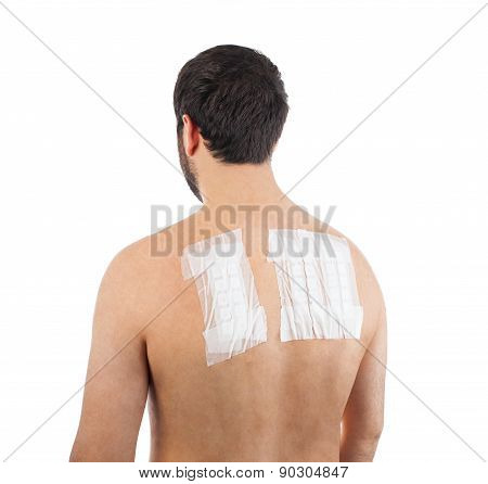 Skin Allergy Patch Test on Back of Male Patient On White Background poster
