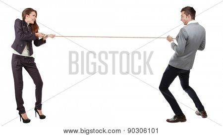 Business people stretching rope isolated on white