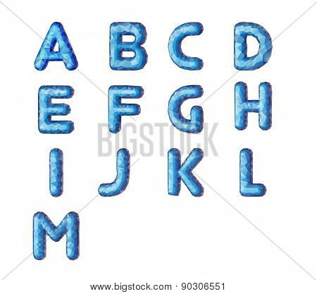 Vector Lowpoly Font vector leters. Vector illustration.