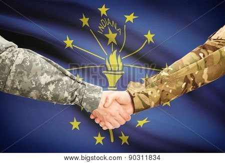 Military Handshake And Us State Flag - Indiana