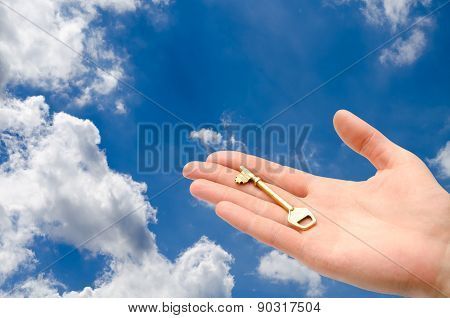 Hand With A Key In The Sky