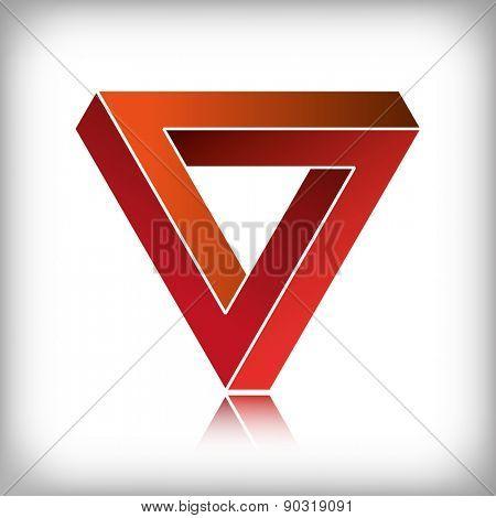 Impossible triangle, optical illusion.