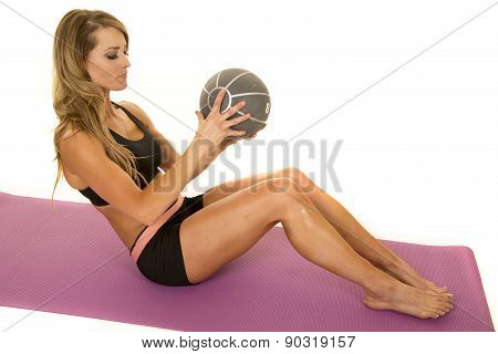 Fit Woman In Black Shorts And Top Ball Sit Up