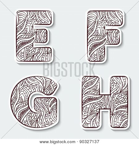 Set Of Capital Letters  E, F, G, H From The Alphabet With Abstract Pattern In Tribal Indian Style.