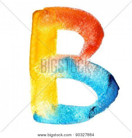 Letter B - colorful watercolor abc