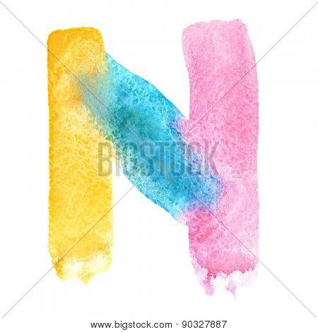 Letter N - colorful watercolor abc