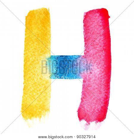 Letter H - colorful watercolor abc