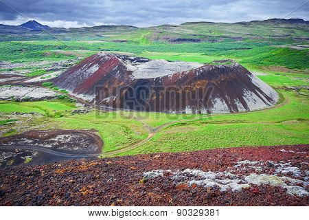 Grabrokarfell viewed from Grabrok crater, Iceland