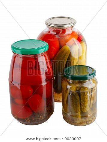 Canned Vegetables In Glass Jars