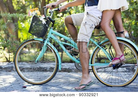 Couple enjoying a spring day biking in nature
