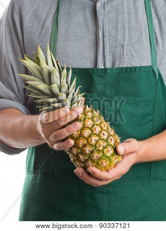 Farmer Holding Whole Fresh Pineapple Fruit