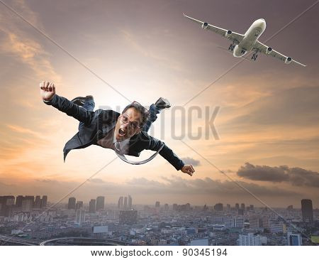 Crazy Business Man Flying From Passenger Plane With Glad And Happiness Emotion Use For New Trend ,