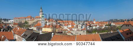Panoramic view of beautiful Czech city Cesky Krumlov