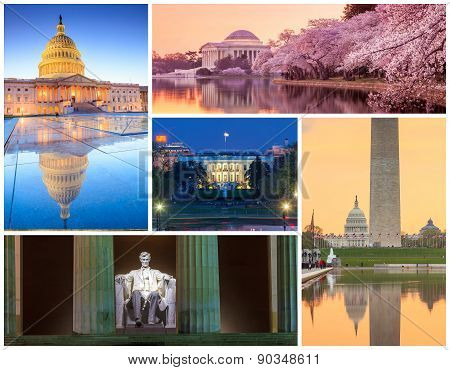 Washington Dc Famous Landmarks Picture Collage