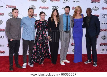 LOS ANGELES - APR 14:  Chloe Bennet, Adrianne Palicki & Elizabeth Henstridge arrives to the Marvel's