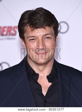 LOS ANGELES - APR 14:  Nathan Fillion arrives to the Marvel's