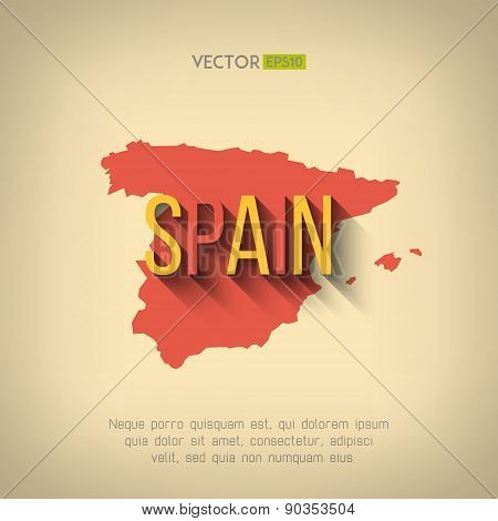 Vector spain map in flat design. Spanish border and country name with long shadow