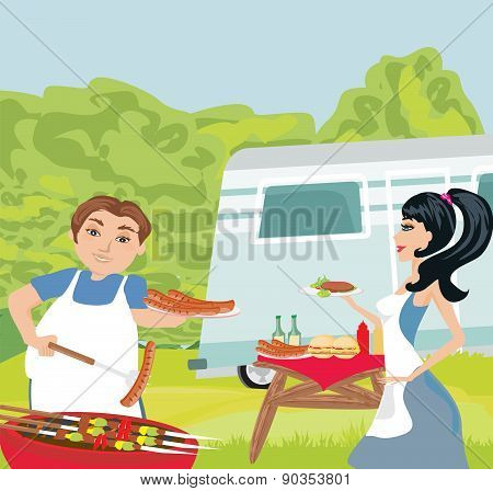 Couple Outdoor Grilling Meat
