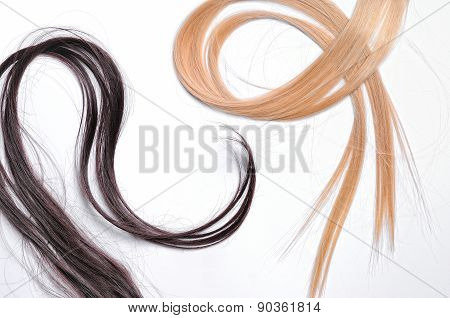 Tufts Of Brown And Blond Straight Hair