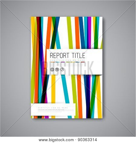 Modern Vector abstract brochure / book / flyer design template with color stripes