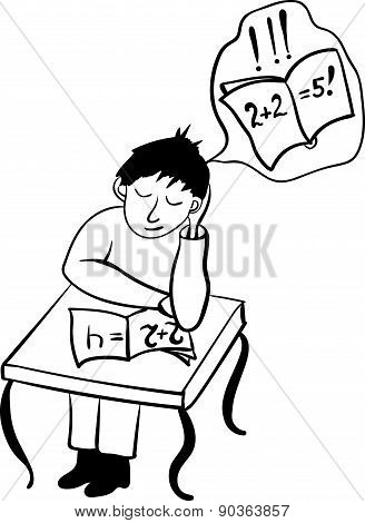 student fell asleep in class comic vector illustration