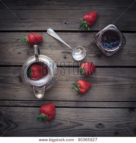 Sweet Fresh Stawberry On The Wooden Table With Retro Spoon And Bow