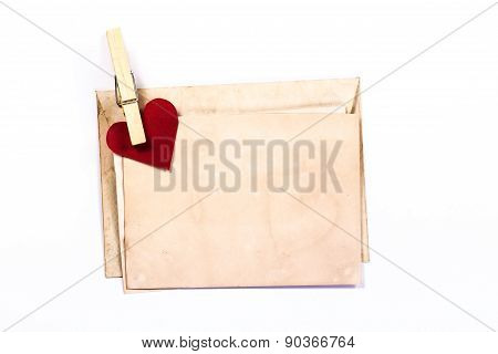 isolated old yellow envelope with heart